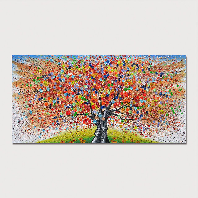 Hand Painted Canvas Oilpainting Abstract Tree by Knife Home Decoration with Frame Painting Ready to Hang With Stretched Frame