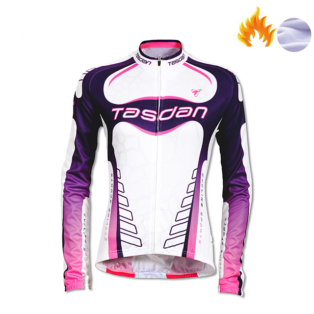 TASDAN Women's Long Sleeve Cycling Jersey Winter Fleece Polyester White Patchwork Gradient Funny Bike Jersey Top Mountain Bike MTB Road Bike Cycling Breathable Quick Dry Reflective Strips Sports