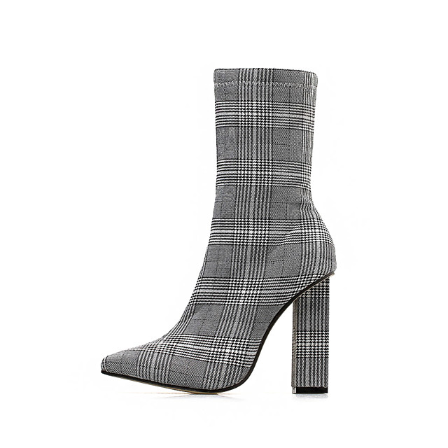 Women's Boots Winter Block Heel Pointed Toe Basic Roman Shoes Daily Plaid / Check Polyester Mid-Calf Boots Gray