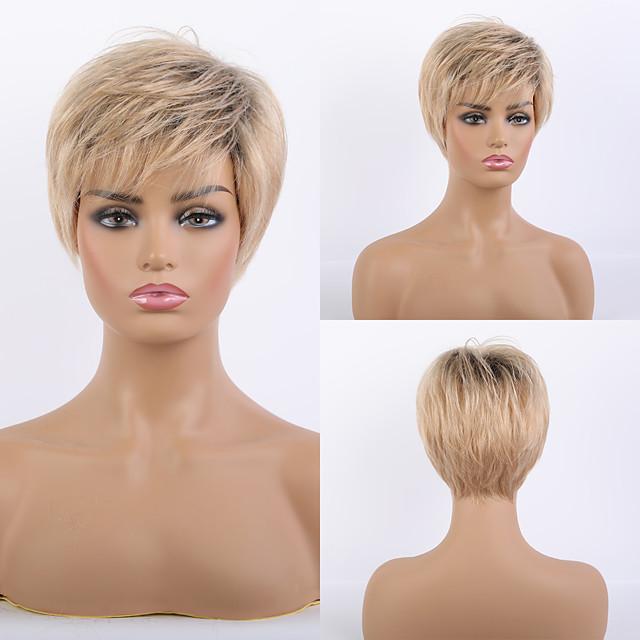 Remy Human Hair Wig Short Straight Natural Straight Bob Pixie Cut Layered Haircut Asymmetrical Blonde Women Fashion Natural Hairline Capless Women's All Black / Honey Blonde 8 inch