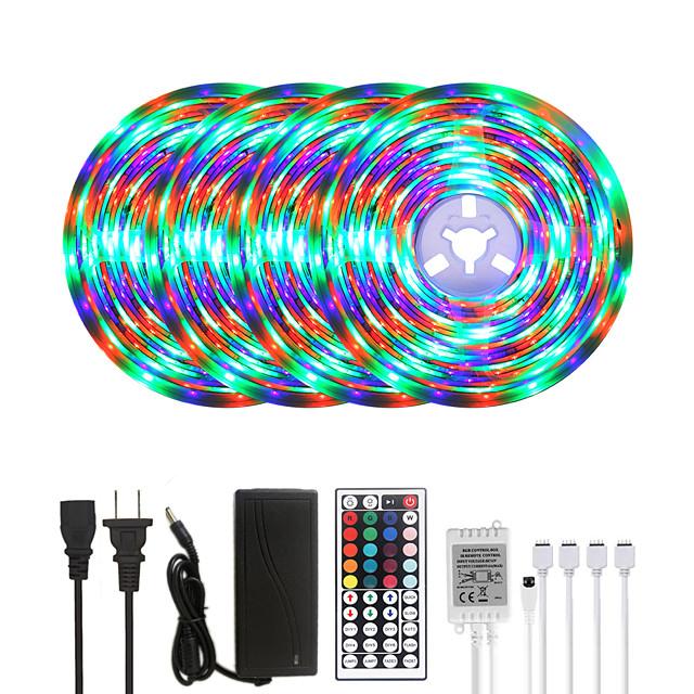 20M LED Strip Lights RGB Tiktok Lights Waterproof 1200LEDs Flexible Color Change 2835 with 44 Keys IR Remote Controller and 100-240V Adapter for Home Bedroom TV Back Lights DIY Deco