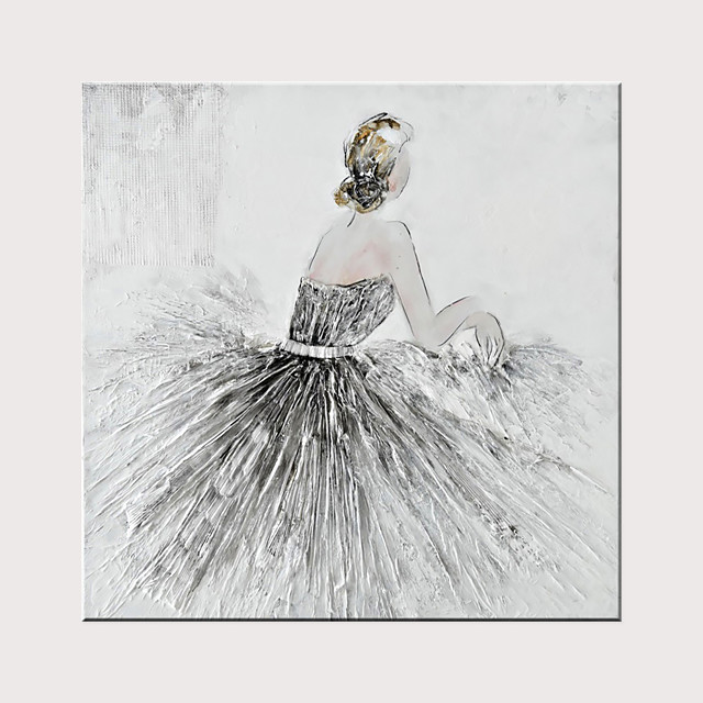 Hand Painted Canvas Abstract Oil Painting Ballet Girl Modern Abstract Art Home Decorative Wall Art