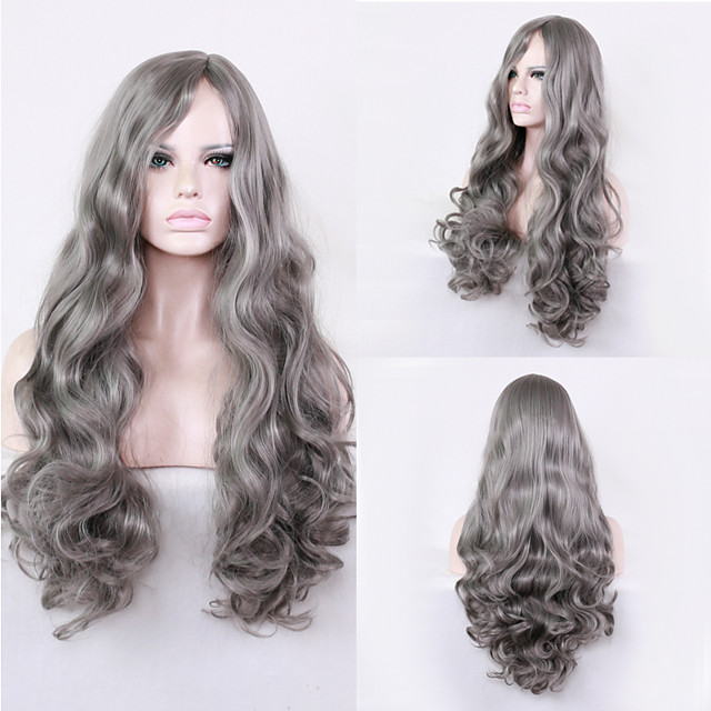 Synthetic Wig Wavy Middle Part Wig Long Grey Synthetic Hair 28 inch Women's Party New Arrival Cool Dark Gray