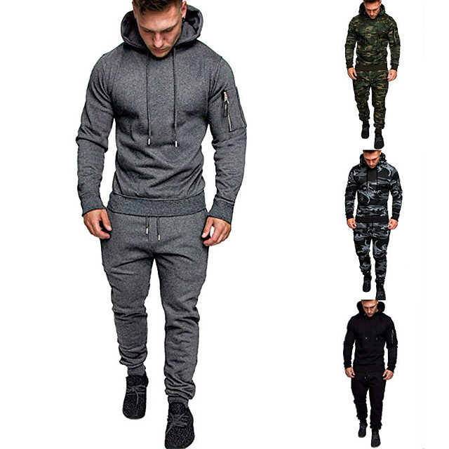 Men's 2-Piece Drawstring Tracksuit Sweatsuit Street Athleisure Long Sleeve Summer Cotton Thermal Warm Breathable Moisture Wicking Fitness Gym Workout Running Active Training Jogging Sportswear Outfit