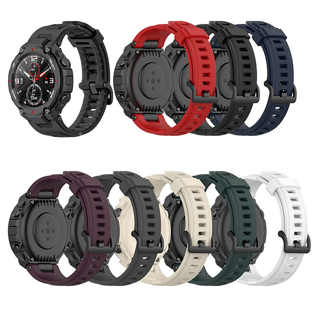Soft Silicone Watch Band For Amazfit T-Rex Smart Watch Bracelet Replacement Wristband Adjustable Sports Watch Strap