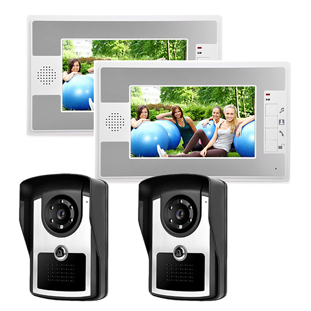 Wired 7 Inch Hands-free 800*480 Pixel Two To Two Video Doorphone Intercom System With Infrared Night Vision Camera