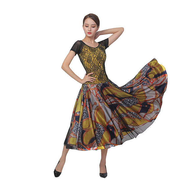 Ballroom Dance Dress Split Joint Women's Training Performance Short Sleeve Mesh Lace
