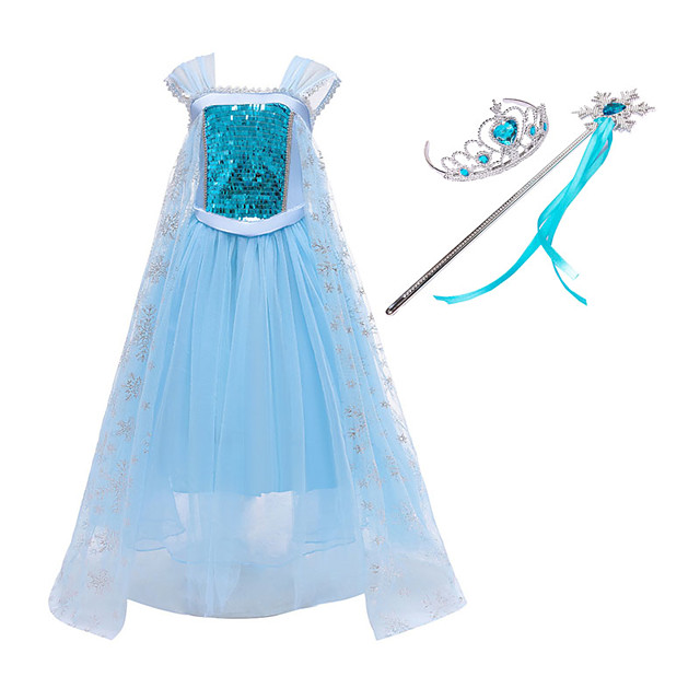 Frozen Princess Dress Cosplay Costume Girls' Movie Cosplay Mesh Halloween Blue Dress Wand Halloween New Year Polyester / Cotton
