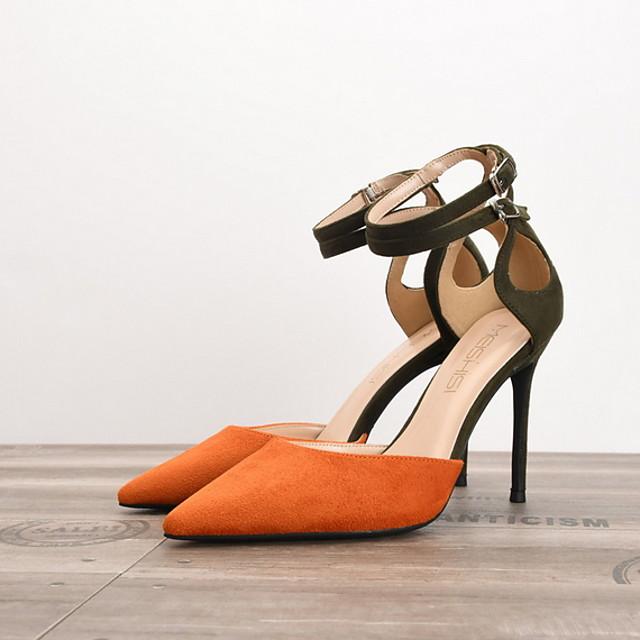 Women's Heels Summer Stiletto Heel Pointed Toe Daily PU Black / Red / Fuchsia