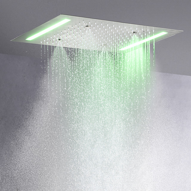 Contemporary Rain Shower Brushed Feature - LED, Shower Head