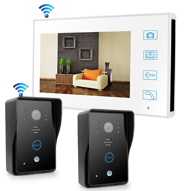 Wireless 2.4GHz 7 inch Hands-free 800*480 with PIR Motion Detect video doorphone