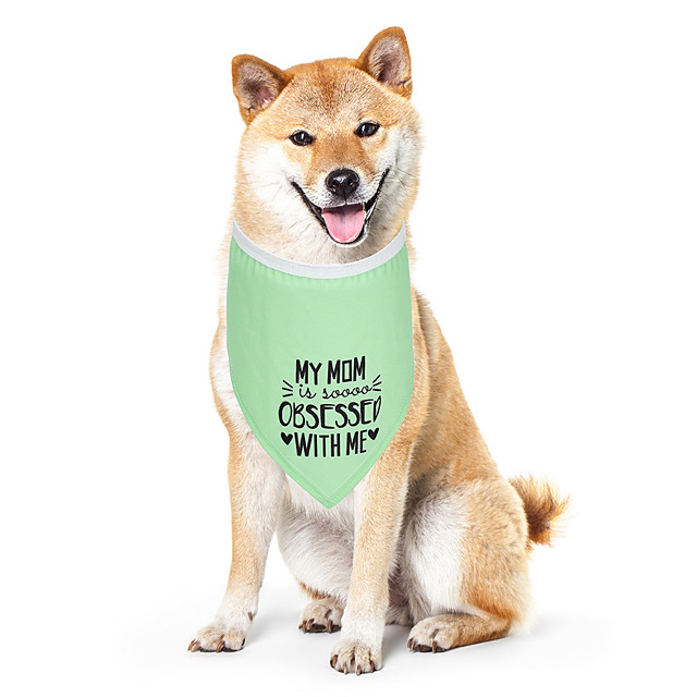 Dog Cat Bandanas & Hats Dog Bandana Dog Bibs Scarf Letter & Number Casual / Sporty Cute Party Sports Dog Clothes Adjustable Green Costume Cotton Polyster