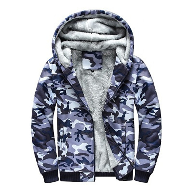 Men's Hiking Jacket Hiking Fleece Jacket Winter Outdoor Camo Thermal / Warm Windproof Fleece Lining Breathable Winter Jacket Top Full Length Visible Zipper Hunting Fishing Climbing Camouflage / Blue