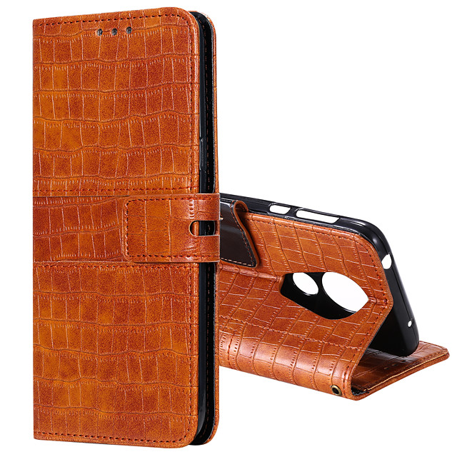 Case For Motorola G6 G7 G7 PLAY G7 POWER E5 PLAY G6 PLAY E6PLUS G8 POWER Card Holder Flip Magnetic Full Body Cases Solid Colored PU Leather TPU CROCODILE PRINT