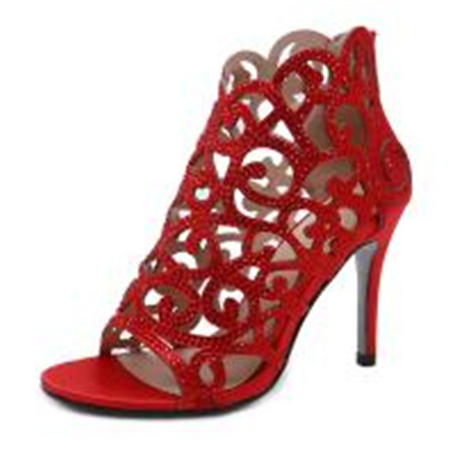 Women's Heels Summer / Winter Pumps Peep Toe Basic Sexy Roman Shoes Daily Rhinestone Solid Colored Satin Black / Light Red
