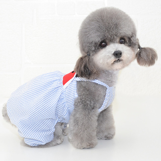 Dog Dress Pajamas Stripes Fruit Casual / Sporty Cute Wedding Casual / Daily Dog Clothes Breathable Blue Pink Costume Cotton S M L XL XXL