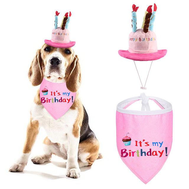 Dog Dog Bandana & Dog Hat Dog Bandana Dog Bibs Scarf Dog Clothes Adjustable Blue Pink Christmas Birthday Costume Husky Golden Retriever Corgi Cotton Polyster Cartoon Letter & Number Casual / Sporty