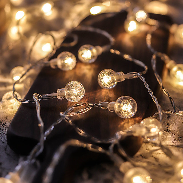 5M 50LED Crystal Ball Bulb Ball Lights LED String Lights Outdoor String Lights Battery Powered Fairy Light Waterproof Outdoor Garden Christmas Wedding Party Courtyard Decoration Lamp Without Battery