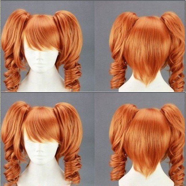Cosplay Costume Wig Synthetic Wig Cosplay Wig Lolita Curly Cute With 2 Ponytails Wig Blonde Medium Length Light golden Black Orange Synthetic Hair 18 inch Women's Cosplay Blonde hairjoy