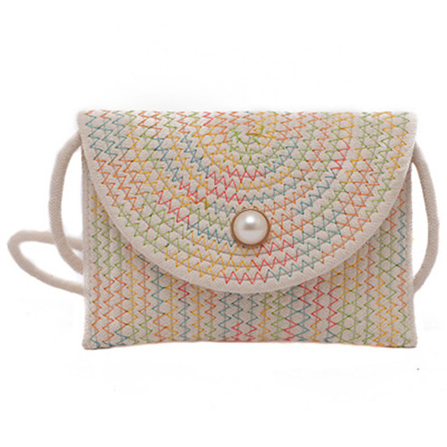 Women's Bags Straw Satchel Buttons for Daily White / Black / Khaki / Straw Bag
