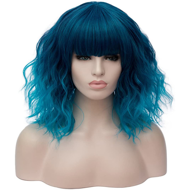 Synthetic Wig Curly Natural Wave Short Bob With Bangs Wig Medium Length Brown Blonde Pink Blue Green Synthetic Hair 14 inch Women's Anime Cute Party Ombre