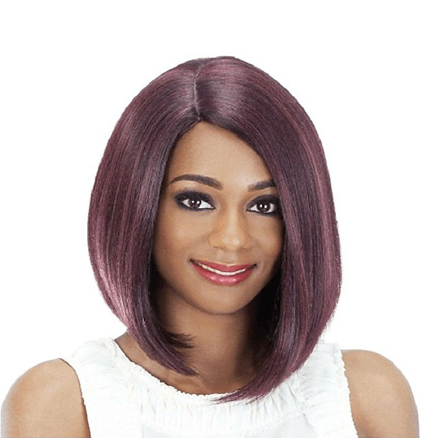 Synthetic Wig Natural Straight Bob Side Part Wig Medium Length Wine Red Synthetic Hair 14 inch Women's Party New Arrival Comfortable Red