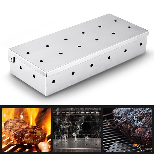 Stainless Steel BBQ Smoker Box 1 Pc for BBQ