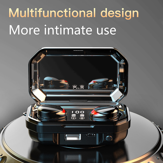 M15 TWS touch Bluetooth 5.0 in-ear headphones large capacity can charge mobile phones LED digital display multi-function waterproof and sweat-proof earbuds
