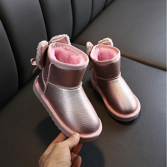 Girls' Snow Boots PU Boots Little Kids(4-7ys) / Big Kids(7years +) Black / Pink / Beige Winter