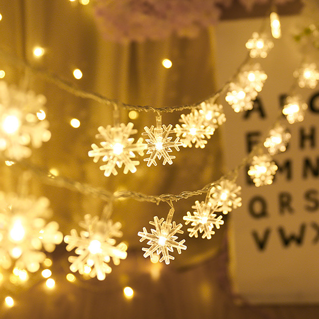 5M 50LED Snowflake LED String Lights Battery Powered Fairy Light Living Room Outdoor Tree Christmas Halloween Wedding Decoration Light Without Battery