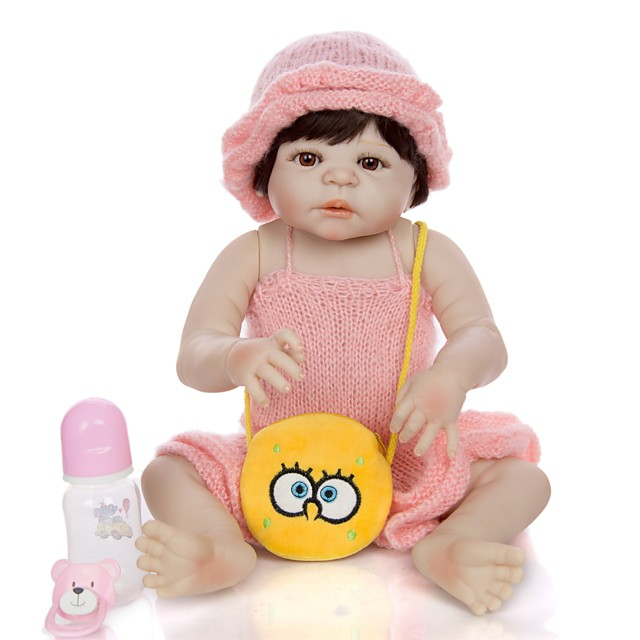 KEIUMI 22 inch Reborn Doll Baby & Toddler Toy Reborn Toddler Doll Baby Girl Gift Cute Washable Lovely Parent-Child Interaction Full Body Silicone KUM23FS01-WW141 with Clothes and Accessories for