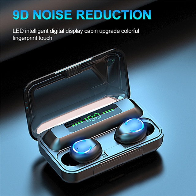 F9-9 True Wireless Smart Bluetooth 5.1 Headset Led Power Display Hd Call Large Capacity Charging Cabin Hifi Sound Quality Waterproof Support Mobile Power for Smartphones