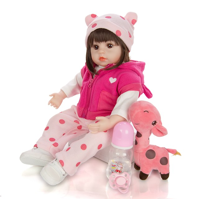 KEIUMI 18 inch Reborn Doll Baby & Toddler Toy Reborn Toddler Doll Baby Girl Gift Cute Lovely Parent-Child Interaction Tipped and Sealed Nails Half Silicone and Cloth Body with Clothes and Accessories