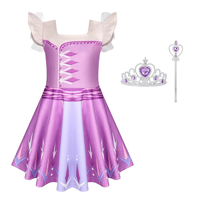 Frozen Dress Cosplay Costume Girls' Movie Cosplay Halloween Purple Dress Wand Halloween New Year Polyester / Cotton