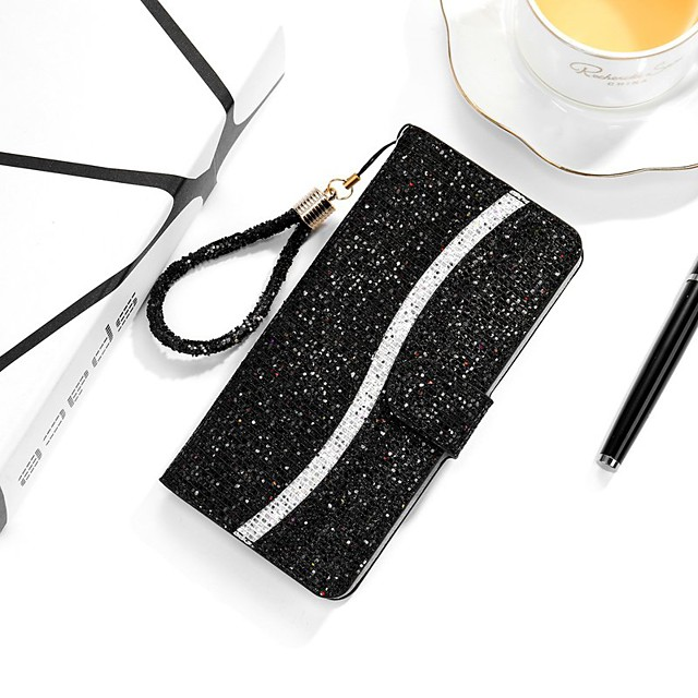 Case For Samsung Galaxy S20 Ultra S9 Plus S10E S8 S7 Edge Wallet Card Holder with Stand Full Body Cases Glitter Shine PU Leather
