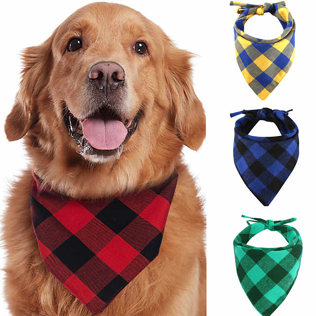 Dog Cat Bandanas & Hats Dog Bandana Dog Bibs Scarf Plaid / Check Casual / Sporty Cute Sports Casual / Daily Dog Clothes Adjustable Black Yellow Red Costume Cotton