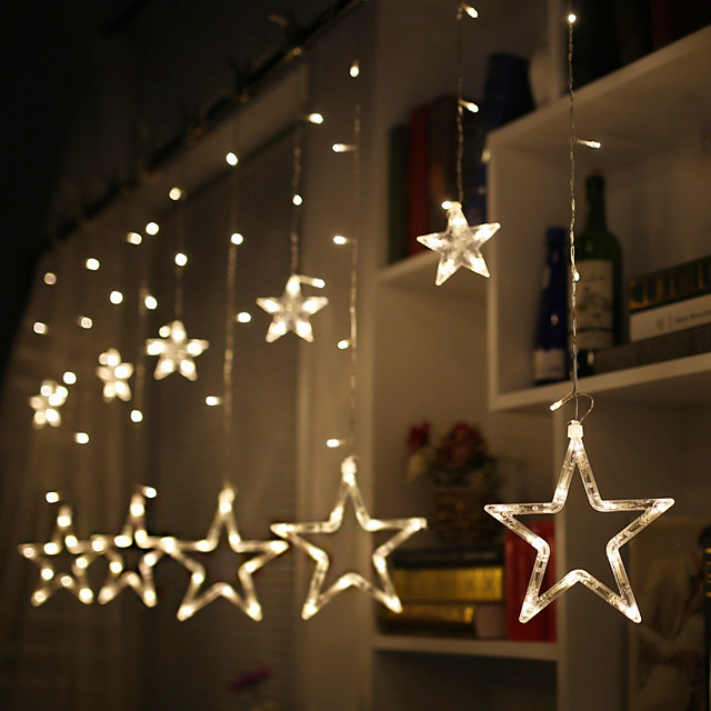 2.5M Star LED String Lights Curtain Lights Battery Powered Fairy Light Living Room Outdoor Tree Christmas Halloween Wedding Valentine's Day Decoration Lights Without Battery