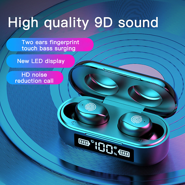 LITBest F9-6A True Wireless Headphones Bluetooth 5.0 Earbuds with LED Power Display Mini Magnetic Charging Box Touch Control Earphones for Android iOS PC Sports Fitness Cycling