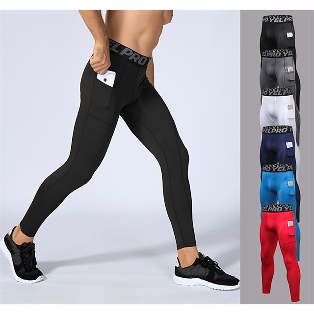 YUERLIAN Men's Running Tights Leggings Compression Pants Athletic Base Layer Tights Leggings with Phone Pocket Elastane Winter Fitness Gym Workout Performance Running Breathable Quick Dry Sweat
