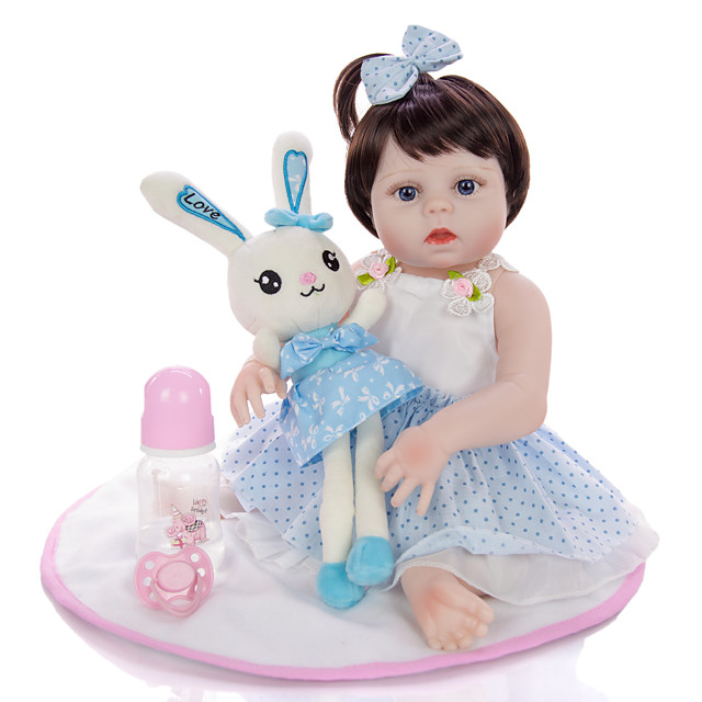 KEIUMI 19 inch Reborn Doll Baby & Toddler Toy Reborn Toddler Doll Baby Girl Gift Cute Washable Lovely Parent-Child Interaction Full Body Silicone 19D09-C387-T22 with Clothes and Accessories for