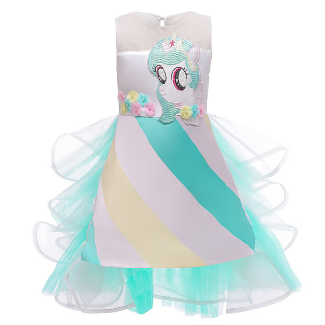 Princess Unicorn Dress Flower Girl Dress Girls' Movie Cosplay A-Line Slip Green Dress Halloween Children's Day Masquerade Polyester