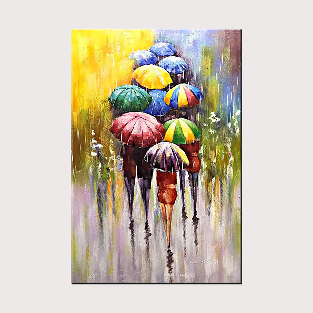 Modern Abstract Art Hand-Painted Canvas Rain Street Umbrella Oil Painting Wall Art Bedroom Living Room Decoration Rolled Canvas