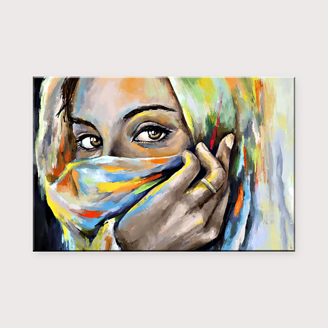 Modern Fashion Female Art Hand-Painted Contemporary Wall Art Veiled Girl Canvas Wall Art Oil Painting