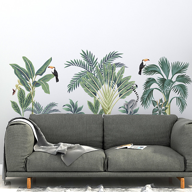 Green Plant Wall Stickers Decorative Wall Stickers, PVC Home Decoration Wall Decal Wall Decoration / Removable