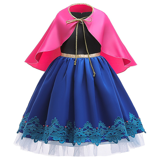 Princess Anna Dress Girls' Movie Cosplay Wrap Included Blue Dress Halloween Polyester Cotton