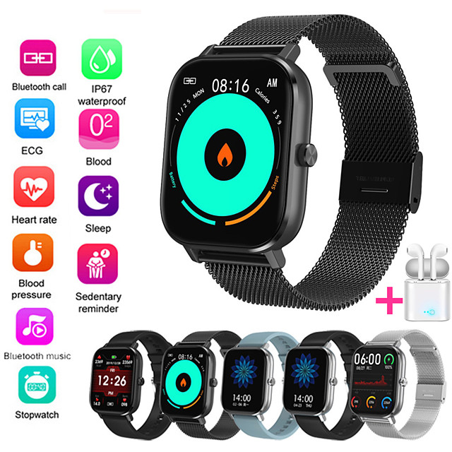JSBP PDT35 Men Women Smartwatch for Apple/ Samsung/ Android PhonesBluetooth Fitness Tracker Support Heart Rate Monitor Blood Pressure Measurement