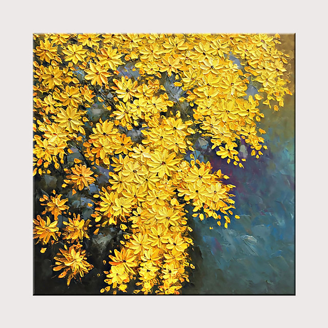 Hand-Painted Modern Textured Flower Oil painting Abstract Canvas Yellow Flower Artwork
