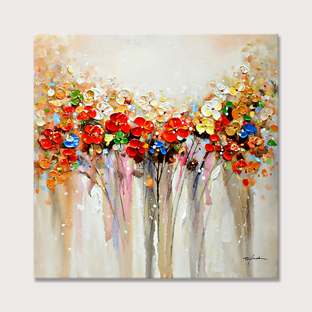 Colorful Flowers Oil Paintings 100% hand-made Oil Painting on Canvas Texture Abstract Art Pictures Canvas Wall Art Paintings Modern Home Decor Abstract Paintings Rolled Without Frame