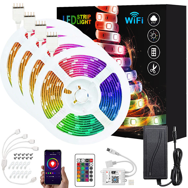 ZDM Upgraded 65ft (4*5M) App Intelligent Control Led Strip Lights IR 24 Key WIFI Controller 5050 RGB Waterproof LED Soft light strip with Adapter Kit DC12V
