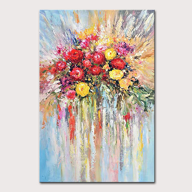 Mintura Hand Painted Flowers Oil Paintings on Canvas Modern Abstract Wall Picture Pop Art Posters For Home Decoration Ready To Hang